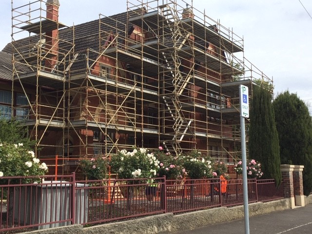 Scaffolding at the west end of the school.
